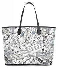 New Steve Madden time newsprint tote black white extra zip pouch pvc x large bag