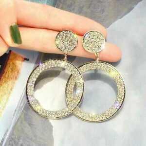 Very Sparkling Rhinestone Statement Silver or Gold Round Hoop Women Earrings