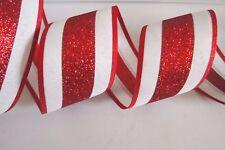 "5 Yards Red White Stripe 2 1/2"" Wired Ribbon Christmas Glitter Ribbon 5 yds"