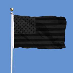 All Black American Flag 3x5 ft Printed Pure Black US Flag Blackout TactU*ss