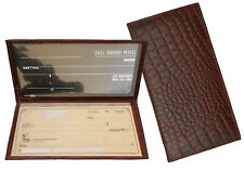 Red Grain Leather Croc Standard Checkbook Cover Long Wallet Cowboy Style