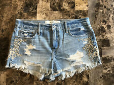 Abercrombie & Fitch Shorts Beaded Embroidered Size 8 Distressed