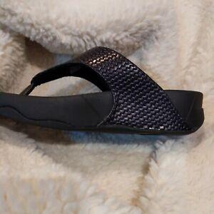 FitFlop Black Lulu Weave Toepost Thong Comfort Sandal Sz.5/ 36 NEW