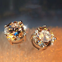 925 STERLING SILVER DIAMOND STUD EARRINGS 5mm ROUND CREATED CLEAR STONE