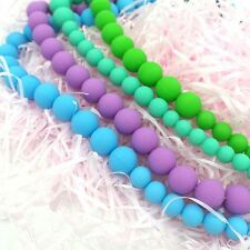 Baby BPA Free Silicone Teething Necklace Nursing Teether Round Beads Chain 20x A