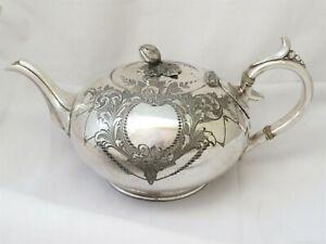 LARGE ORNATE VICTORIAN SIVLER PLATED TEA POT - JAMES DIXON 1880