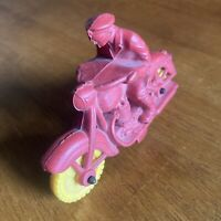 Vintage 1940's-50's Auburn Toy Red Rubber Police Motorcycle