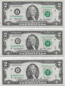 3 $2 bills; all 5 of a Kind with QUADS; Series 2003, 2009, and 2013; Lot T944ᴙ6