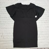 ELOQUII Ruffle Cape Sheath Dress In Black Womens Plus Size 16 NWT