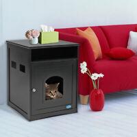 Indoor Cat House Litter Washroom Box Enclosure Furniture Wooden Black Pet House