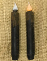 "2 Country Primitive LED Timer Taper Candles 7"" Grungy Black"