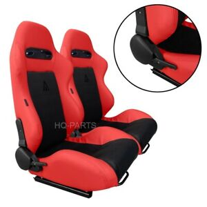 PAIR TANAKA RED PVC LEATHER & BLACK SUEDE ADJUSTABLE RACING SEATS FOR FORD *