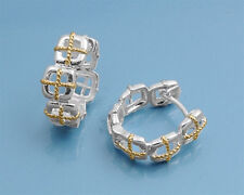 Stunning Two-Tone Hoop Earrings Sterling Silver 925 Fashion Jewelry Gift