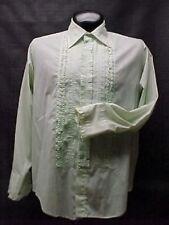 Light Green Ruffled Tuxedo Shirt Vintage 16.5/32 Medium