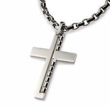 P06B Herren Edelstahl Anhänger für Halskette KREUZ Schmuck Cross Pendant Men