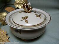 Große alte Weimar Porzellan Bonboniere Deckeldose Blütenzweig Golddekor