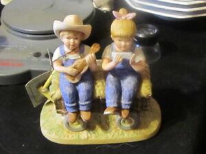 1985 Homco Denim Days Figurine Hay Ride #1529