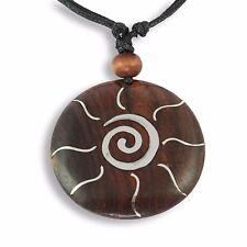 Amulett Anhänger Maori Koru Spirale Design Kette Halskette Holz Edelstahl N258