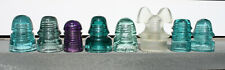 Group of 8 Different Glass Insulators - Mickey Mouse, Purple, Green, Aquas