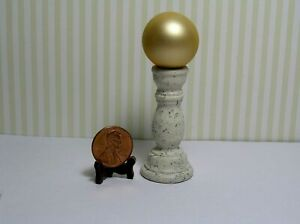Miniature Dollhouse Gold Frosted Gazing Ball on Light Speckled Textured  Base