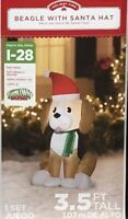 Airblown Inflatable 3.5 Ft Tall Beagle With Santa Hat Christmas Gemmy