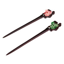 2pcs Classic Chinese Hairpin Hand-carved Ebony Flower Retro Hair Pins Sticks