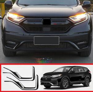 For Honda CR-V CRV 2020-2021 Glossy Black Front Bumper Grill Cover Strip Trim*4X