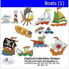Machine Embroidery Designs - Boats(1) - 10  designs  - 9 Formats - Threadart