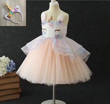 2 PC Children's Girls' 8-Layer Flower Unicorn Costume Tutu Dress w/ Headband B10