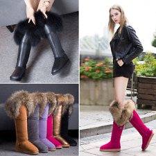 Womens Winter Snow Boots Fur Lining Real Fur Trim Warm Leather Knee High Boots