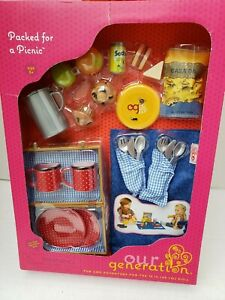American Our Generation Girl Doll Picnic Basket Frisbee Pitcher Utensils Muffins