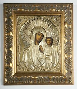 Icon of the Mother of God of Kazan, Russian Antique