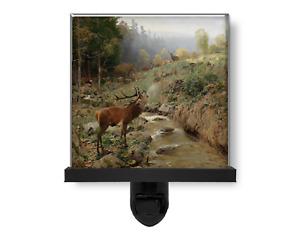 Beautiful Bull Elk Deer by Mountain Stream Vintage Style Glass Photo Night Light