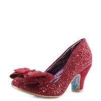 Womens Irregular Choice Ban Joe Red Glitter Party Heeled Court Shoes Size