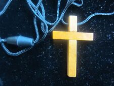 Inexpensive Wood Cross Necklaces 1- 3/4 inch long on 35 inch black nylon cord