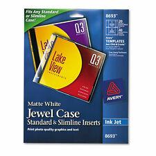 Avery Inkjet Cddvd Jewel Case Inserts Matte White 20pack 8693