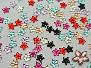 Craft DIY Mixed Color Flatback Acrylic Faceted Star Rhinestone Gems 6mm 8mm 10mm
