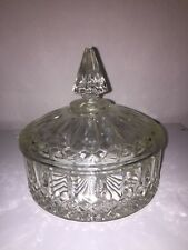Vintage Lidded candy Dish Princess Candy Box Bonbonniere Indiana Glass 60's