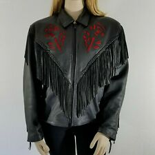Heavy Leather Biker Motorcycle Jacket Lined Black Unik Roses/Fringe Women's 3XL