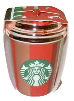 2018 Starbucks Red & Gold Ceramic Cup Holiday Christmas Tree Ornament NWT