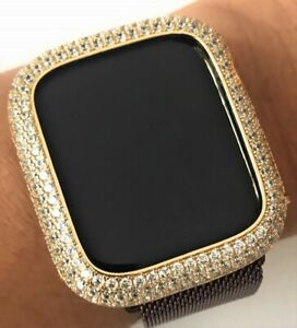 Bling Apple Watch Series 4/5/6/SE Bezel Case Face Zirconia Diamond Gold 44 mm