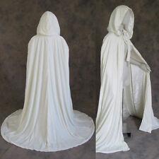 Lined Ivory Velvet Satin Renaissance Cloak Cape Wedding Wicca LARP LOTR Cosplay