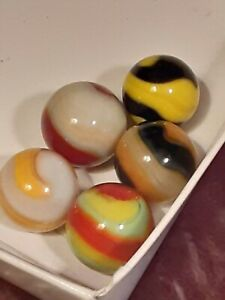 5 AWESOME AKRO AGATE CORKSCREW MARBLES LIFESAVER  BUMBLEBEE  LOOK 1 DAY AUCTION!