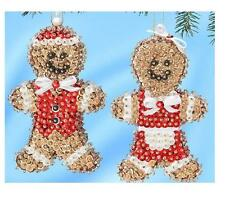 """""""Gingerbread Couple Mr & Mrs"""".Kit makes 2 ornaments sequins, pins, beads"""