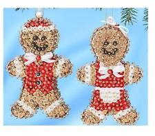 """Gingerbread Couple Mr & Mrs"".Kit makes 2 sequins, pins, beads, styrofoam"