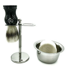 Men Shaving Drip Stand with Badger Brush and Bowl for Soap Straight Razor Zeva