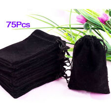 75X Black Velvet Drawstring Jewelry Gift Bags Pouches HOT F6
