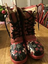 Tamara Henriques Rain Snow Boots 70's Pink Floral Size 39 Cool Cats Uggs