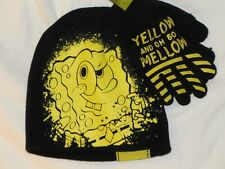 New Boy's SPONGEBOB Yellow And Oh So Mellow Knitted Beanie Hat  & Gloves Set