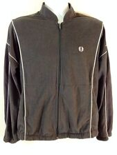 Fred Perry Vintage Gray White Velour Tennis Zip Up Warm Up Jacket Size Medium